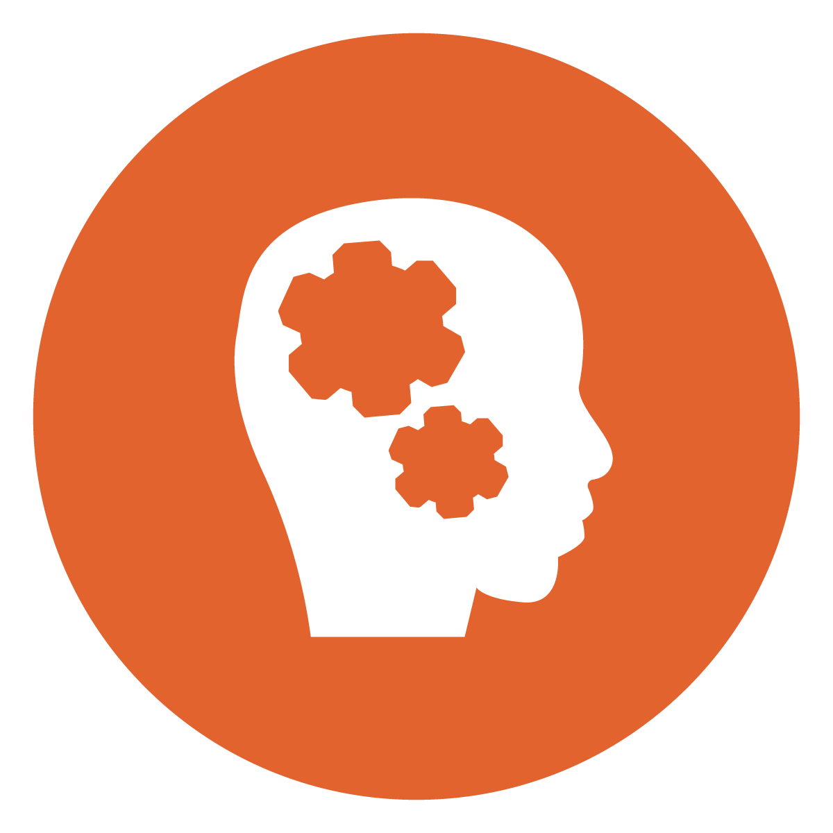 white silhouette profile of head with gears inside a dark orange circle