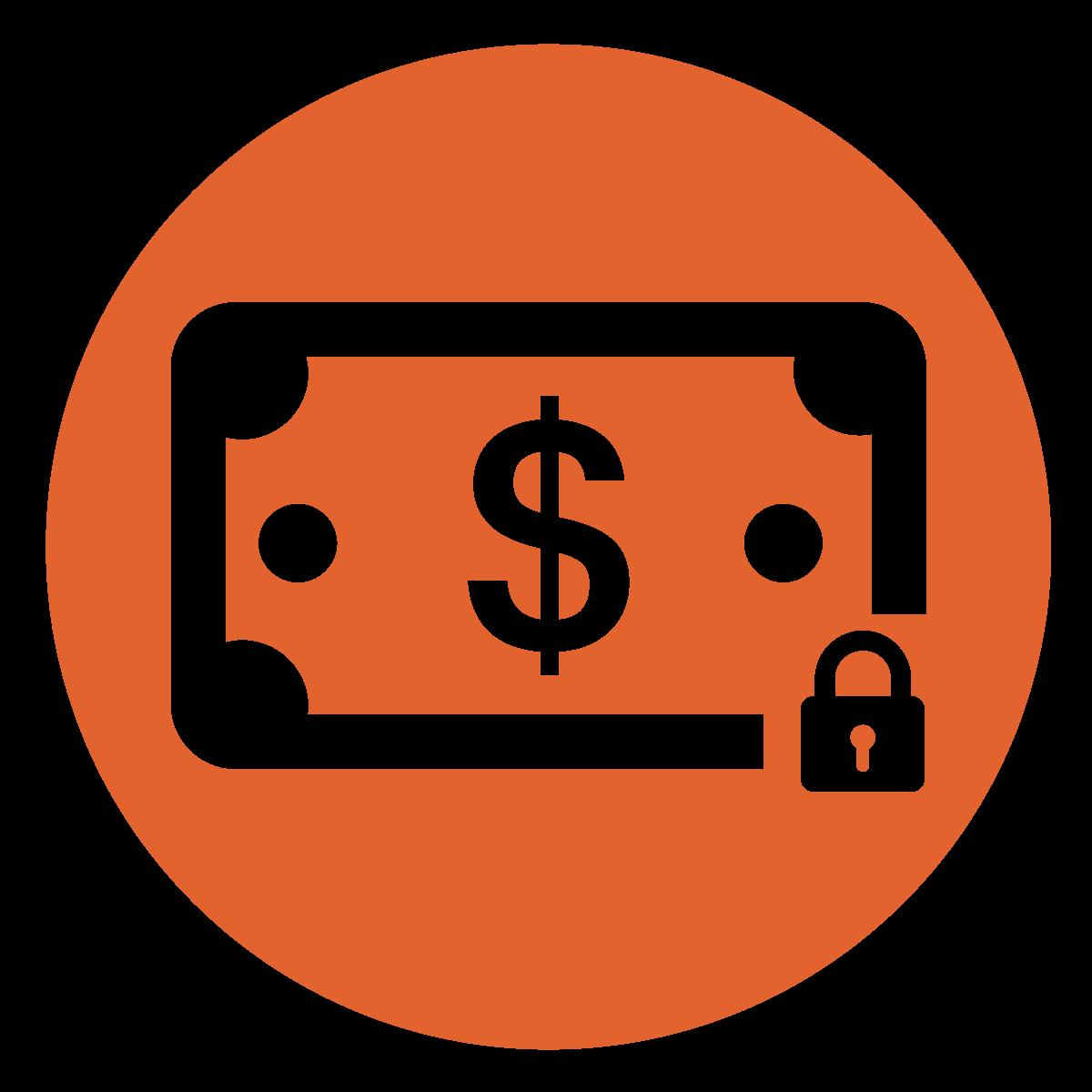 white dollar bill with lock on lower right hand corner in dark orange circle